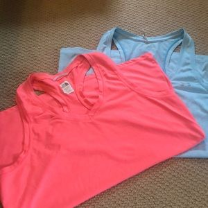 Under Armour and The North face workout tanks